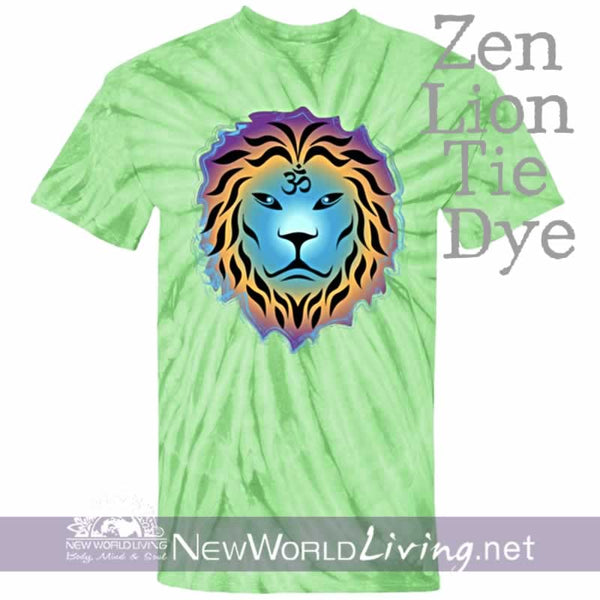 This is our spider lime tie dyed, Zen Lion, short sleeve, spiritual t-shirt. This unique, positive tee comes in sizes S - 5XL in your choice of 6 colors. Sold exclusively at New World Living.