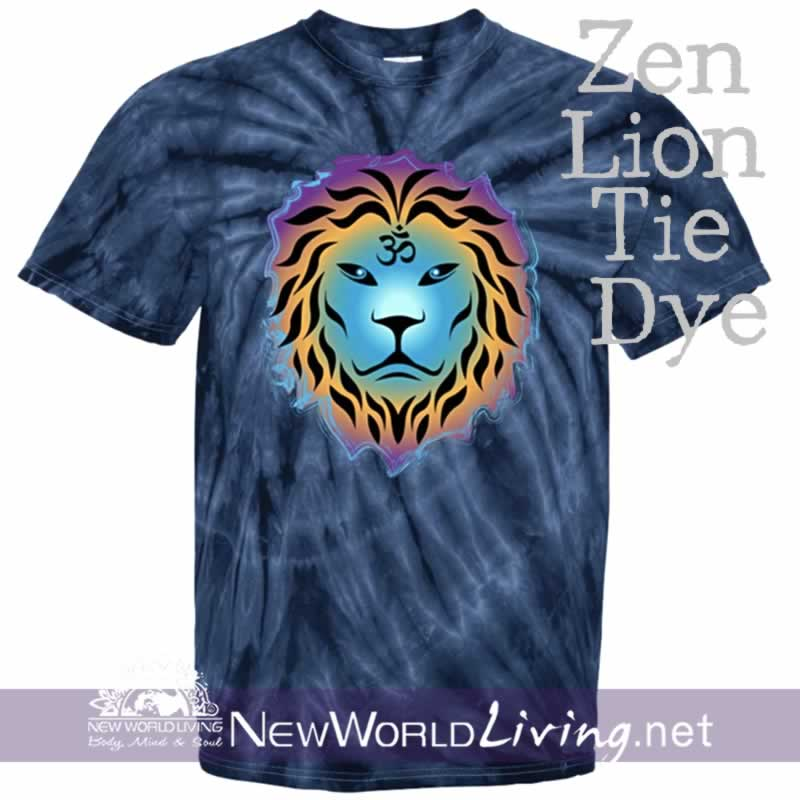 This is our navy spider tie dyed, Zen Lion, short sleeve, spiritual t-shirt. This unique, positive tee comes in sizes S - 5XL in your choice of 6 colors. Sold exclusively at New World Living.