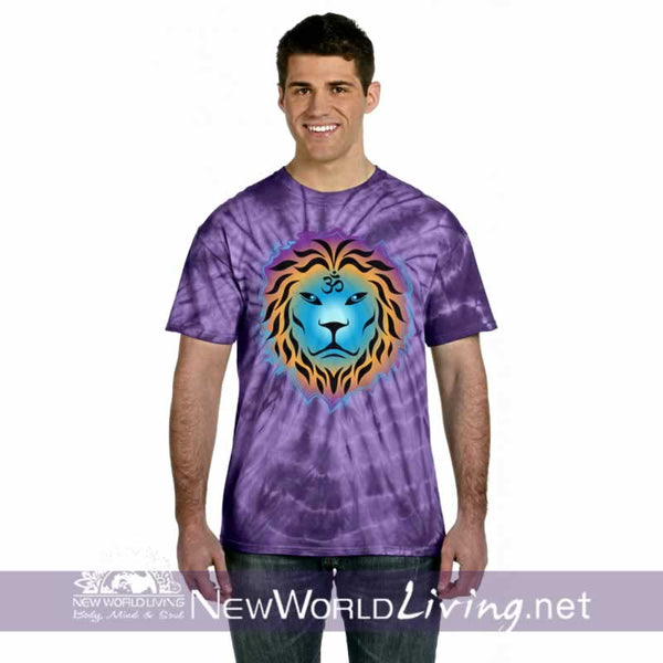 This is our purple spider tie dyed, Zen Lion, short sleeve, spiritual t-shirt. This unique, positive tee comes in sizes S - 5XL in your choice of 6 colors. Sold exclusively at New World Living.