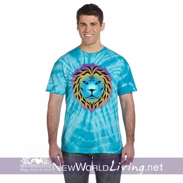 This is our turquoise spider tie dyed, Zen Lion, short sleeve, spiritual t-shirt. This unique, positive tee comes in sizes S - 5XL in your choice of 6 colors. Sold exclusively at New World Living.