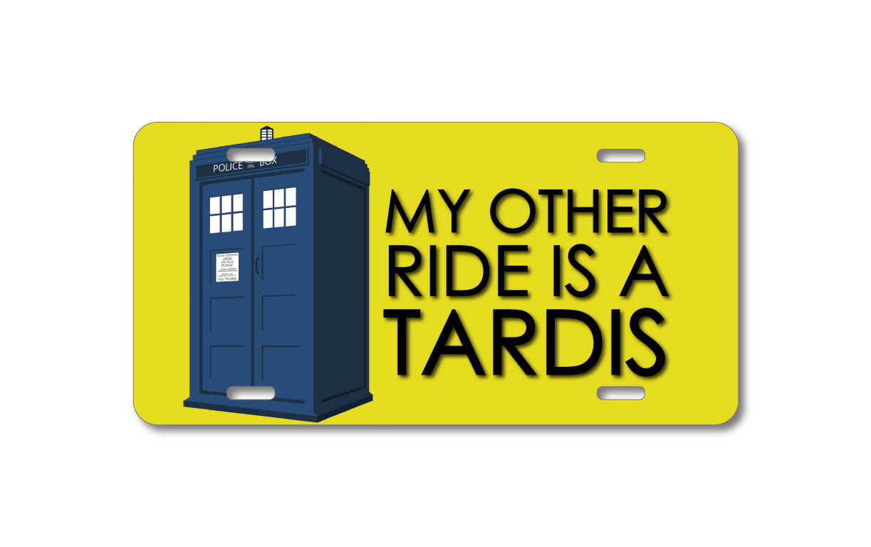 DistinctInk Custom Aluminum Decorative License Plate - My Other Ride is a TARDIS Call Box