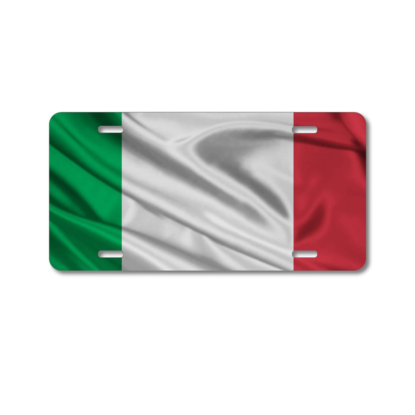 DistinctInk Custom Aluminum Decorative Vanity Front License Plate - Red White Green Italian Flag Italy