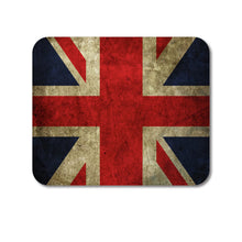 "DistinctInk Custom Foam Rubber Mouse Pad - 1/4"" Thick - Red White Blue British Flag Old"