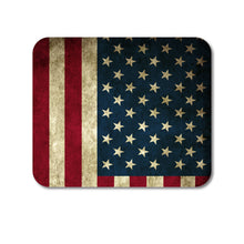 "DistinctInk Custom Foam Rubber Mouse Pad - 1/4"" Thick - Red White Blue United States Flag Old"
