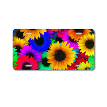 DistinctInk Custom Aluminum Decorative Vanity Front License Plate - Red Green Yellow Sunflowers