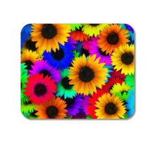 "DistinctInk Custom Foam Rubber Mouse Pad - 1/4"" Thick - Red Green Yellow Sunflowers"