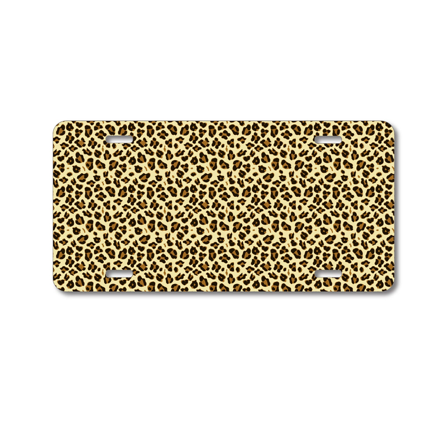 DistinctInk Custom Aluminum Decorative Vanity Front License Plate - Black Beige Tan Leopard Skin Spots