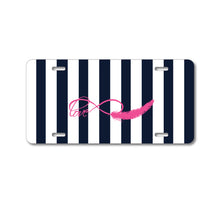 DistinctInk Custom Aluminum Decorative Vanity Front License Plate - Navy White Stripes Pink Love