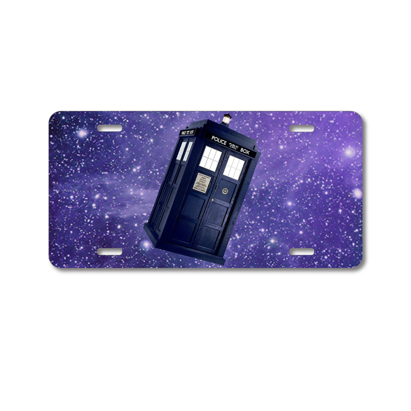 DistinctInk Custom Aluminum Decorative Vanity Front License Plate - TARDIS Floating in Space