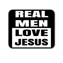 "DistinctInk Custom Foam Rubber Mouse Pad - 1/4"" Thick - Black Real Men Love Jesus"