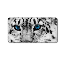 DistinctInk Custom Aluminum Decorative Vanity Front License Plate - Snow Leopard Blue Eyes
