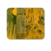 "DistinctInk Custom Foam Rubber Mouse Pad - 1/4"" Thick - Yellow Circuit Board"