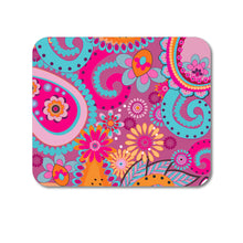 "DistinctInk Custom Foam Rubber Mouse Pad - 1/4"" Thick - Pink Blue Orange Paisley"