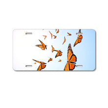 DistinctInk Custom Aluminum Decorative Vanity Front License Plate - Flying Monarch Butterflies