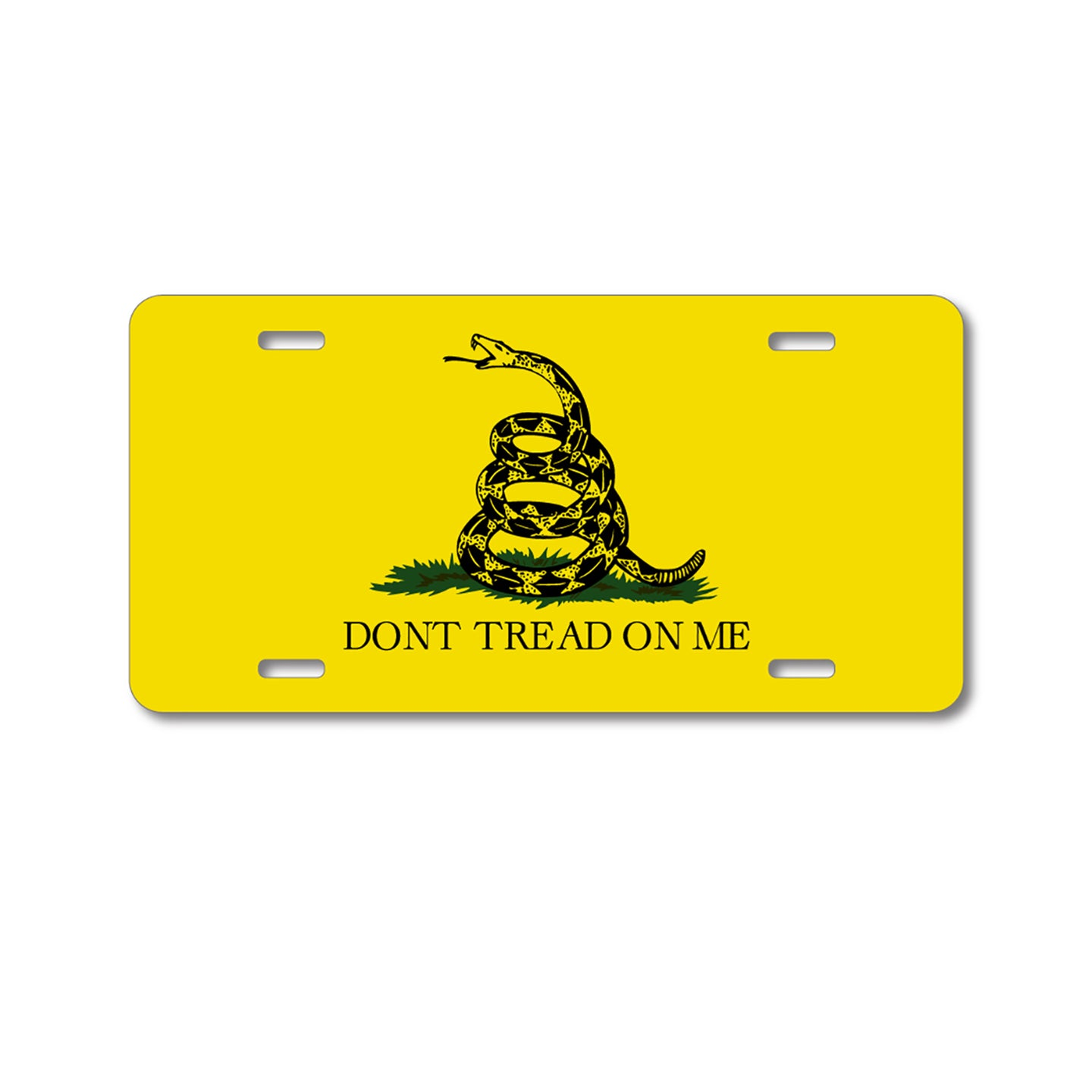 DistinctInk Custom Aluminum Decorative Vanity Front License Plate - Don't Tread On Me - Gadsden Flag