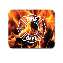 "DistinctInk Custom Foam Rubber Mouse Pad - 1/4"" Thick - Flames Fire Department"