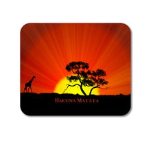 "DistinctInk Custom Foam Rubber Mouse Pad - 1/4"" Thick - Hakuna Matata Red Orange"
