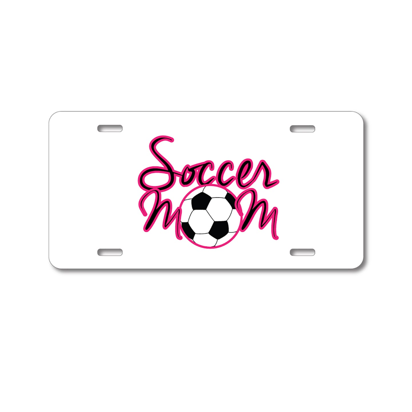 DistinctInk Custom Aluminum Decorative Vanity Front License Plate - Soccer Mom Ball