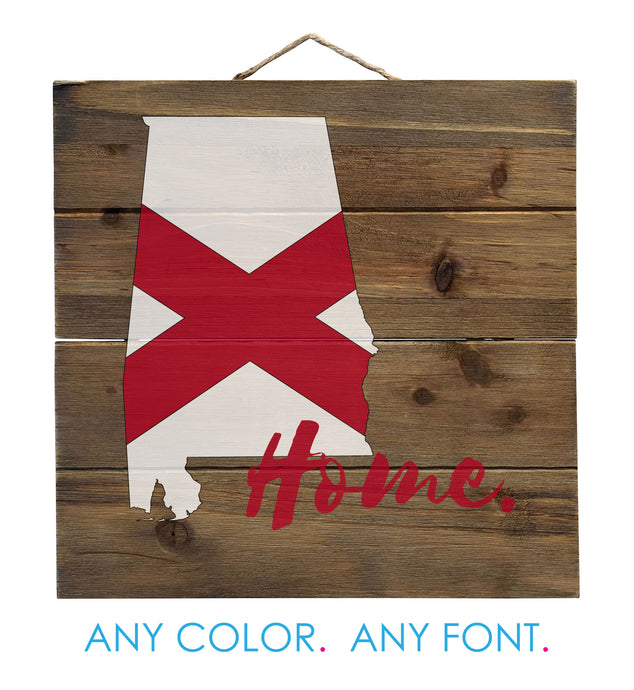 Alabama Flag Home Crimson Bama Distressed Pallet Wood Wall Sign - Decorative - 10