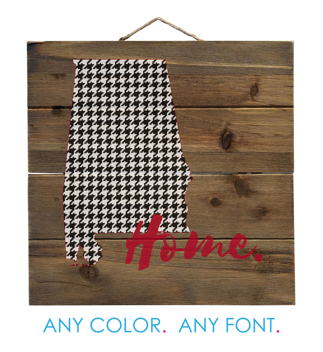 Alabama Flag Home Houndstooth Distressed Pallet Wood Wall Sign - Decorative - 10
