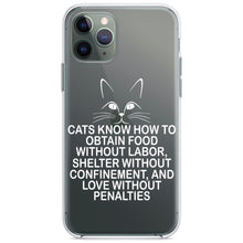 DistinctInk® Clear Shockproof Hybrid Case for Apple iPhone / Samsung Galaxy / Google Pixel - Cats Obtain Food without Labor