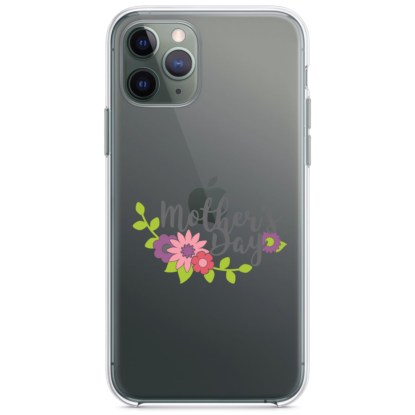 DistinctInk® Clear Shockproof Hybrid Case for Apple iPhone / Samsung Galaxy / Google Pixel - Mother's Day - Pink Purple Flowers
