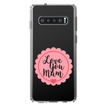 DistinctInk® Clear Shockproof Hybrid Case for Apple iPhone / Samsung Galaxy / Google Pixel - Love You Mum - Pink Ribbon