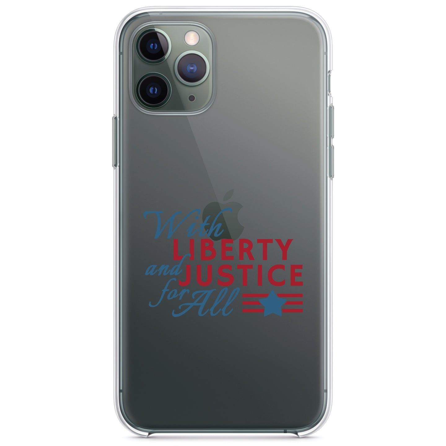 DistinctInk® Clear Shockproof Hybrid Case for Apple iPhone / Samsung Galaxy / Google Pixel - With Liberty and Justice For All