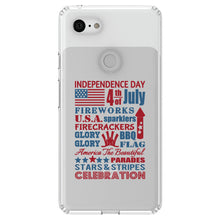 DistinctInk® Clear Shockproof Hybrid Case for Apple iPhone / Samsung Galaxy / Google Pixel - Independence Day Word Art
