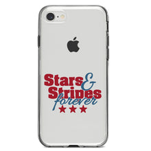DistinctInk® Clear Shockproof Hybrid Case for Apple iPhone / Samsung Galaxy / Google Pixel - Stars & Stripes Forever