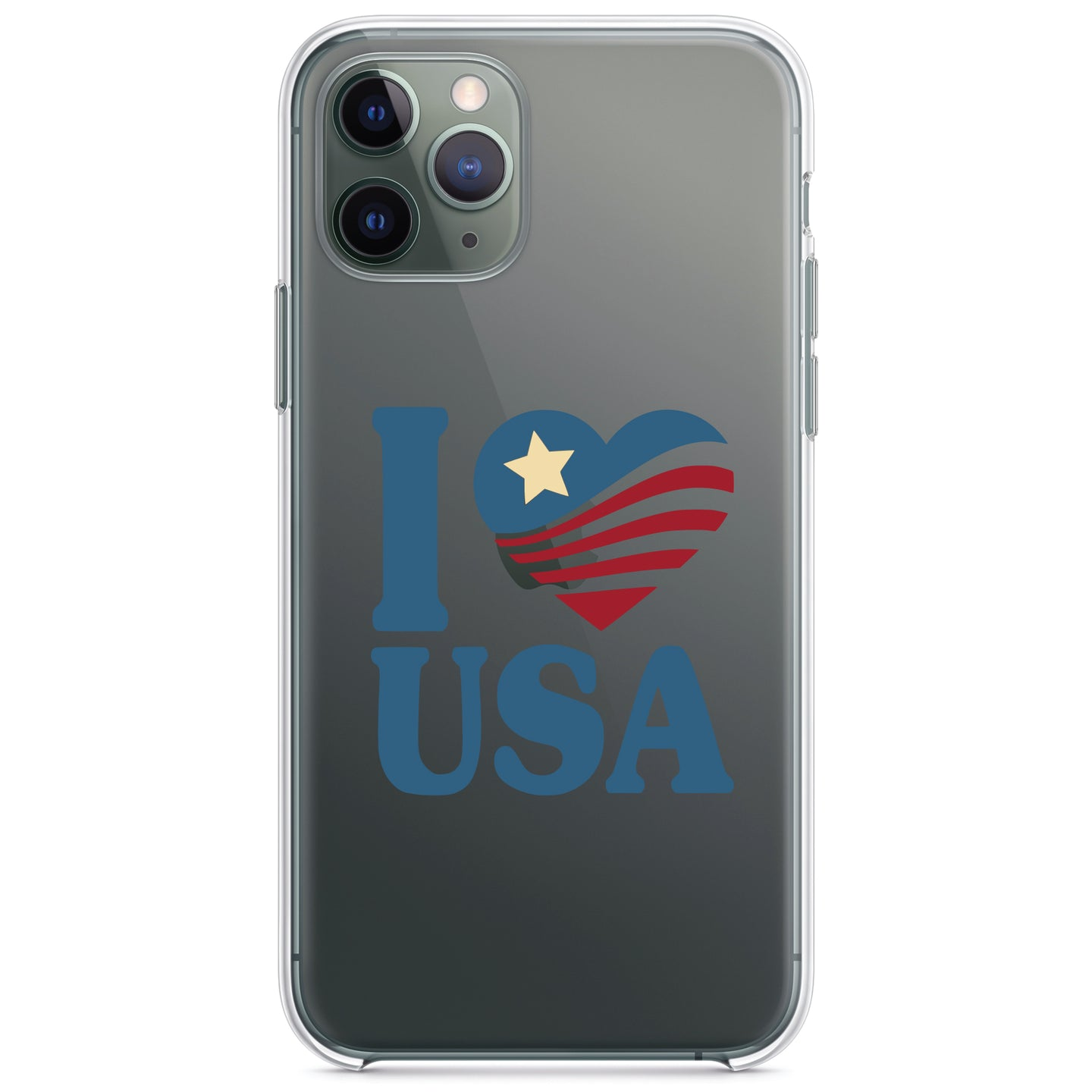DistinctInk® Clear Shockproof Hybrid Case for Apple iPhone / Samsung Galaxy / Google Pixel - I Love USA Flag