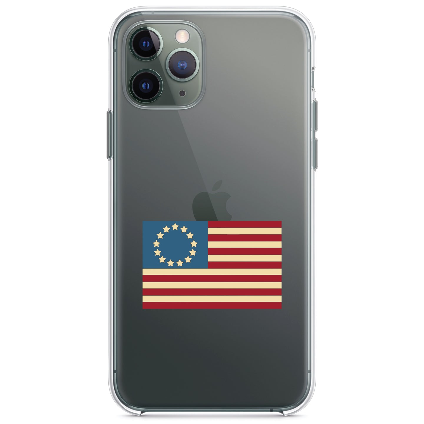 DistinctInk® Clear Shockproof Hybrid Case for Apple iPhone / Samsung Galaxy / Google Pixel - USA Colonial Flag Red White & Blue