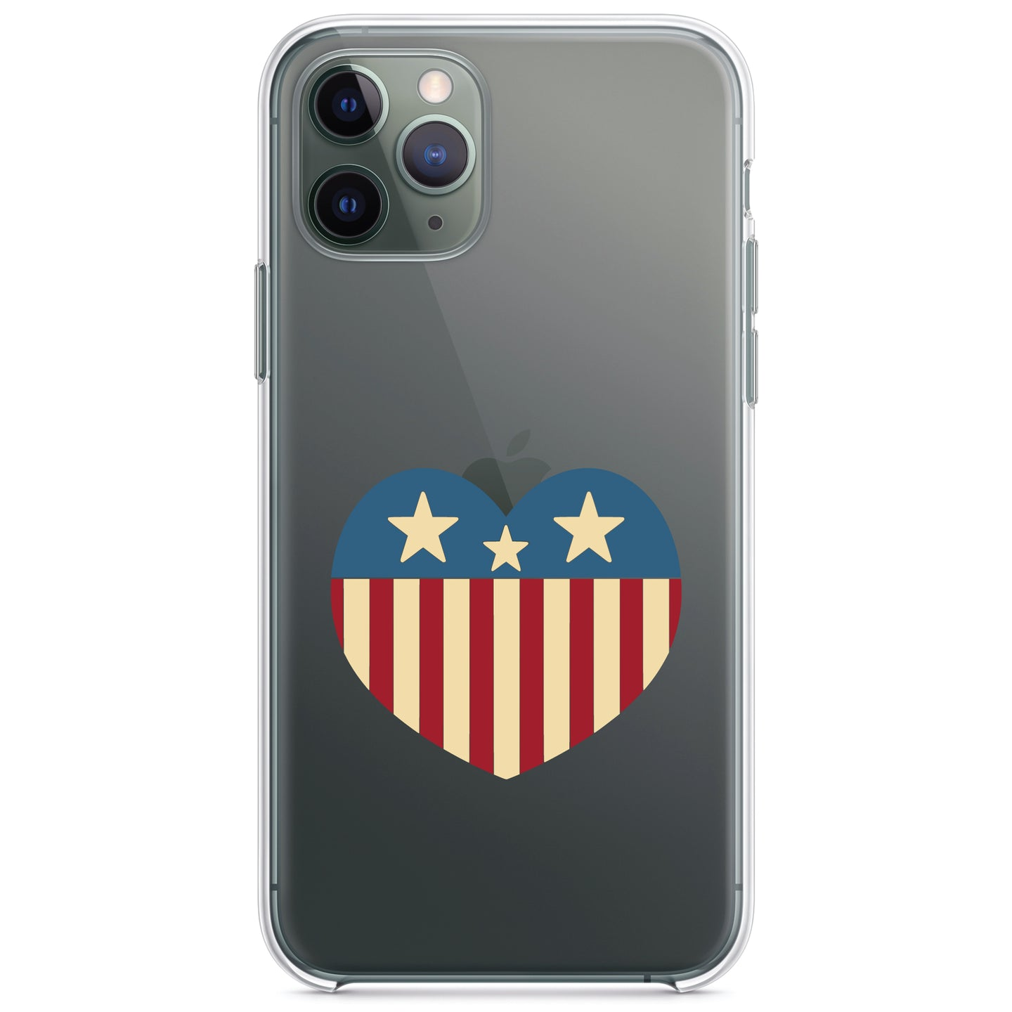 DistinctInk® Clear Shockproof Hybrid Case for Apple iPhone / Samsung Galaxy / Google Pixel - USA Heart Flag Red White & Blue