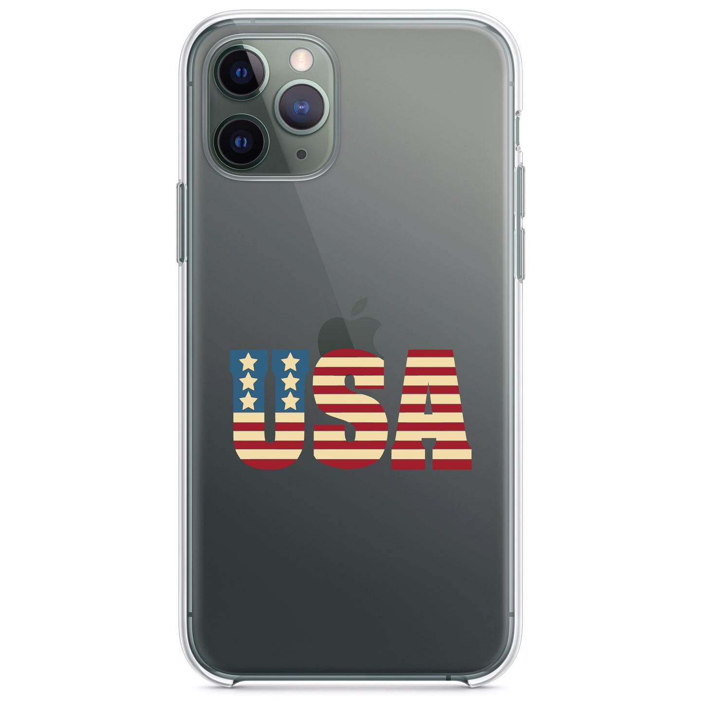 DistinctInk® Clear Shockproof Hybrid Case for Apple iPhone / Samsung Galaxy / Google Pixel - USA Letter Art Flag Red White & Blue