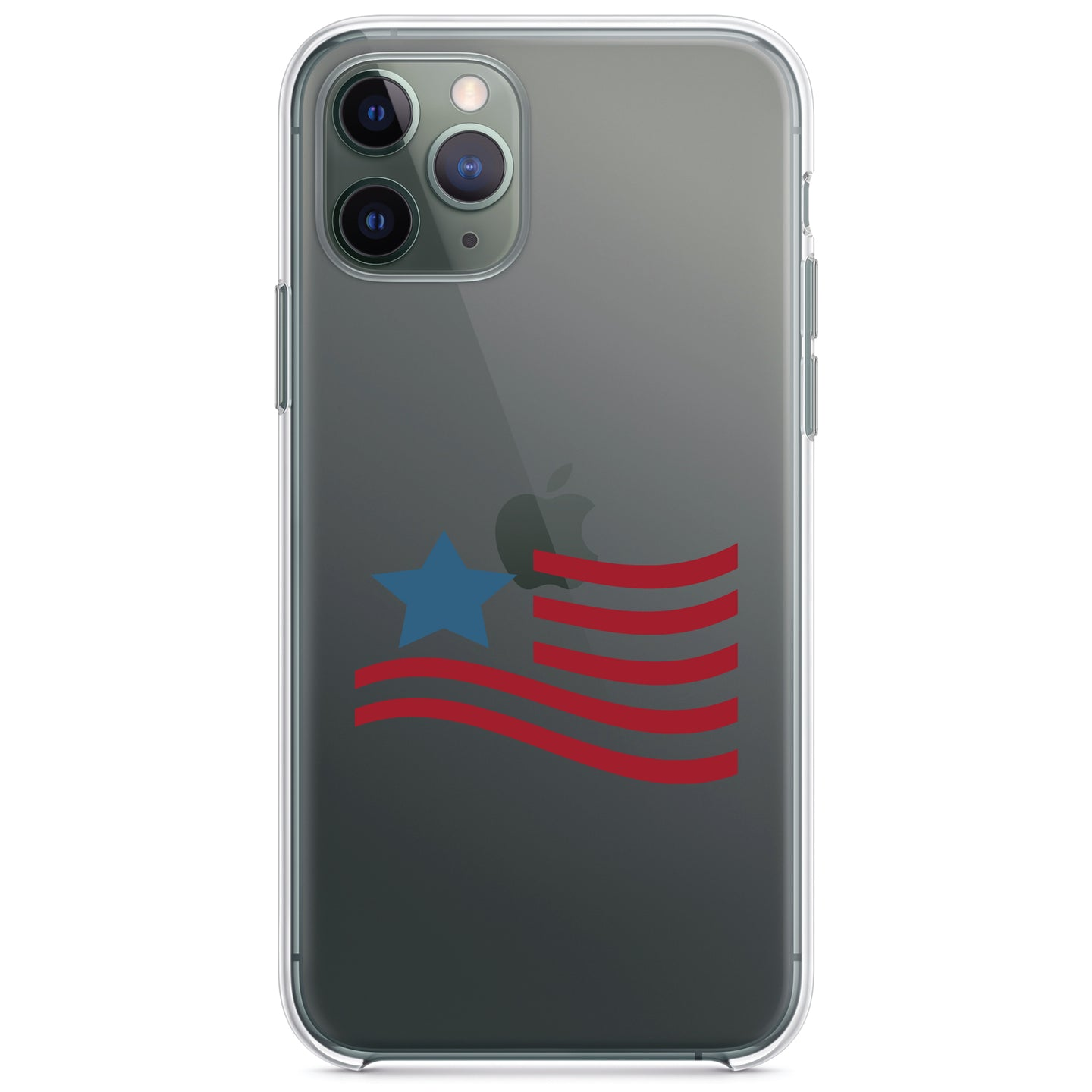 DistinctInk® Clear Shockproof Hybrid Case for Apple iPhone / Samsung Galaxy / Google Pixel - USA Waving Flag Red White & Blue
