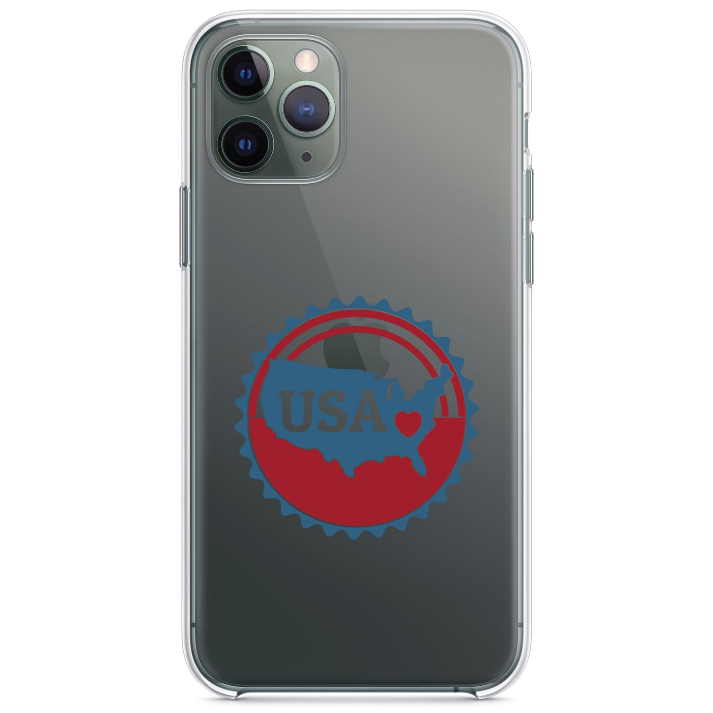 DistinctInk® Clear Shockproof Hybrid Case for Apple iPhone / Samsung Galaxy / Google Pixel - USA Heart Seal Red White & Blue