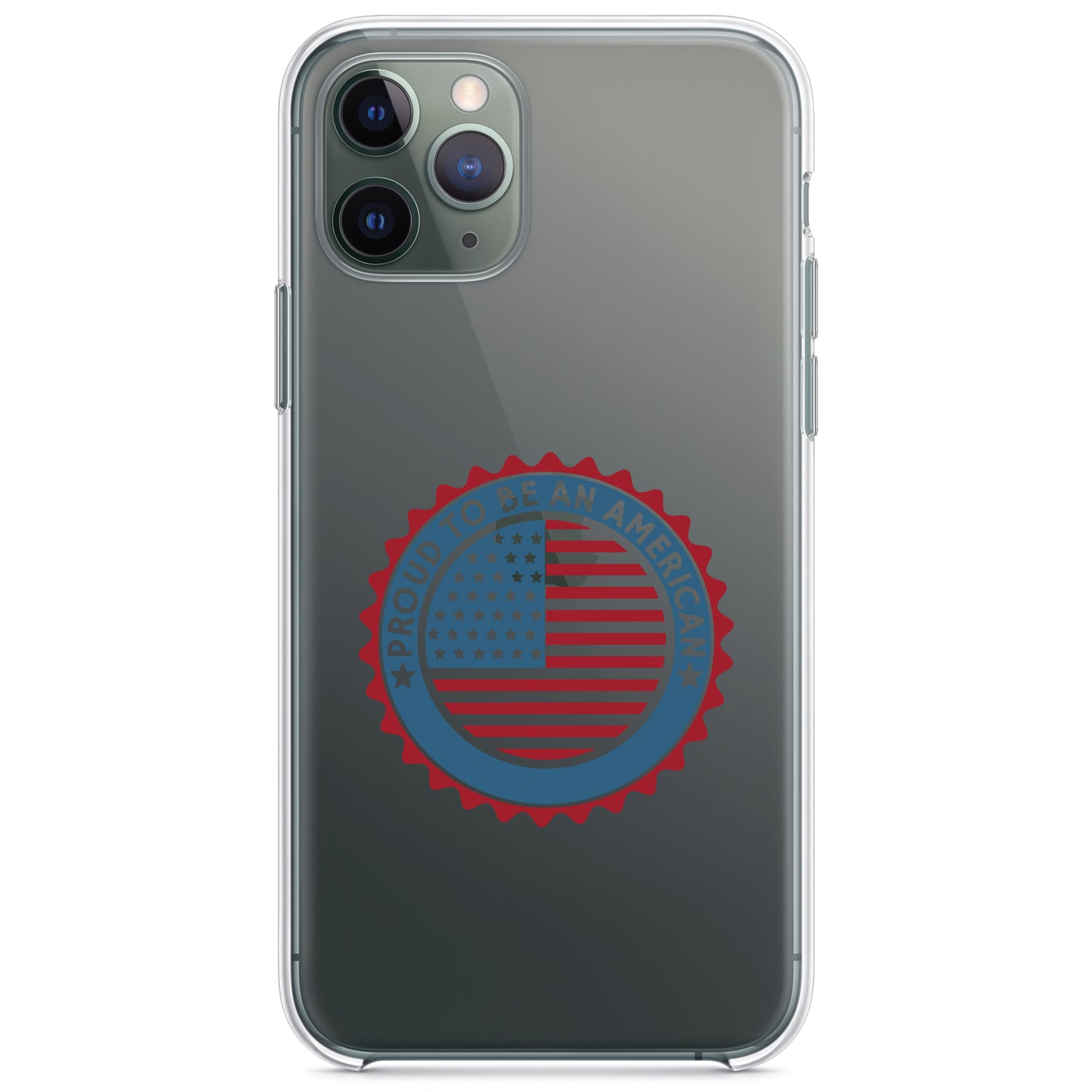 DistinctInk® Clear Shockproof Hybrid Case for Apple iPhone / Samsung Galaxy / Google Pixel - USA Seal - Proud to be an American
