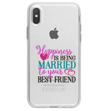 DistinctInk® Clear Shockproof Hybrid Case for Apple iPhone / Samsung Galaxy / Google Pixel - Happiness Married to Your Best Friend