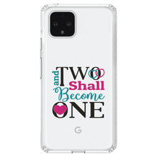 DistinctInk® Clear Shockproof Hybrid Case for Apple iPhone / Samsung Galaxy / Google Pixel - Two Shall Become One - Wedding