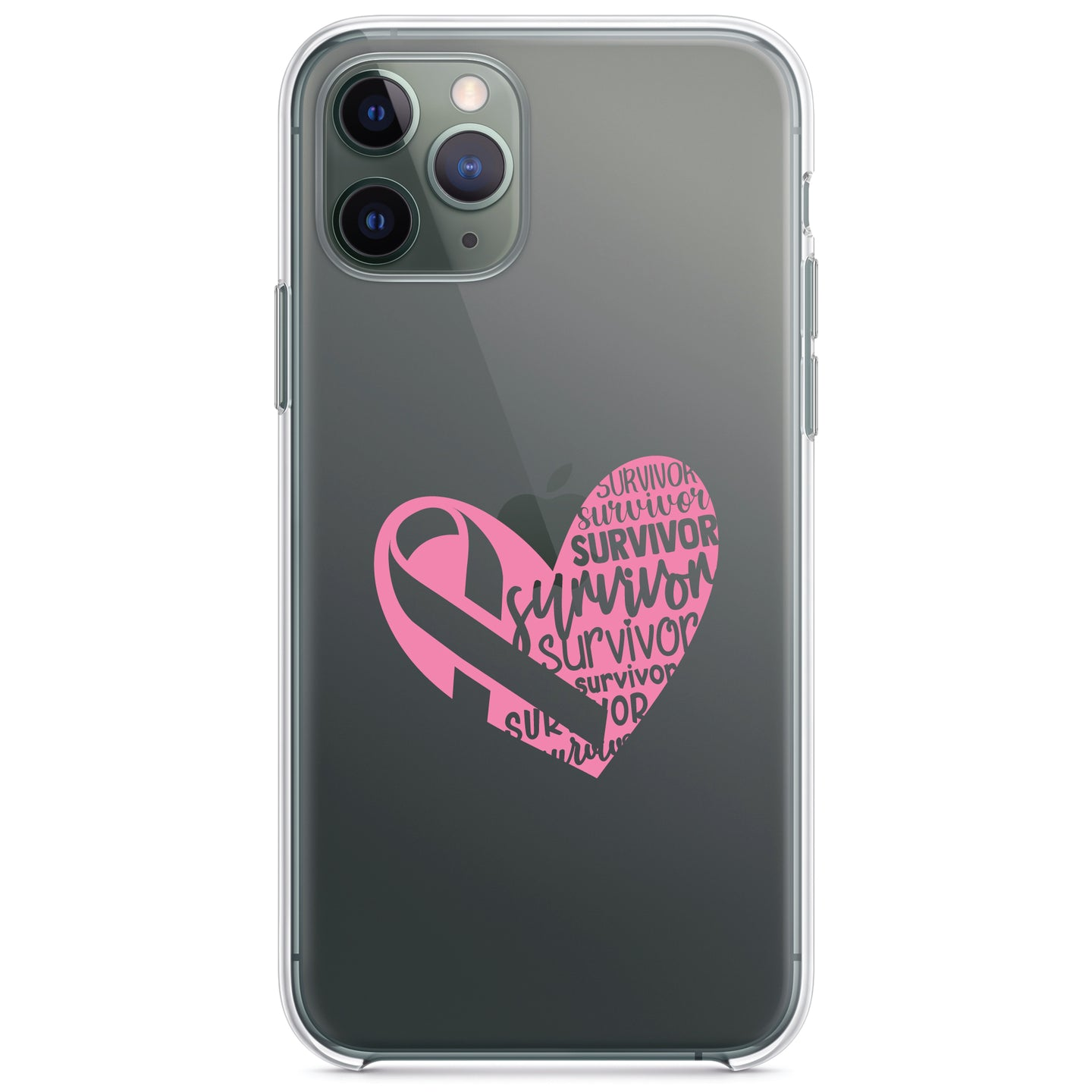 DistinctInk® Clear Shockproof Hybrid Case for Apple iPhone / Samsung Galaxy / Google Pixel - Pink Ribbon Cancer - Survivor Heart