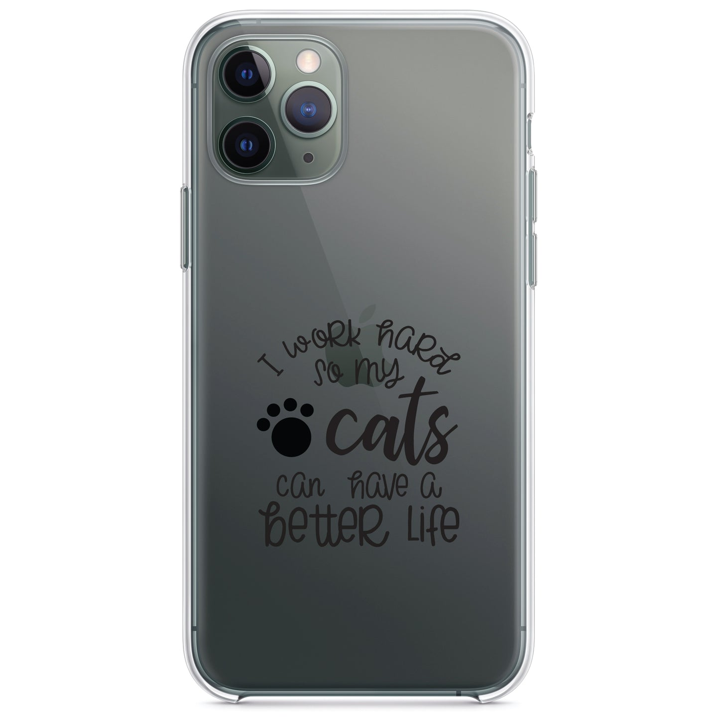 DistinctInk® Clear Shockproof Hybrid Case for Apple iPhone / Samsung Galaxy / Google Pixel - I Work Hard So My Cats Can Have a Better Life