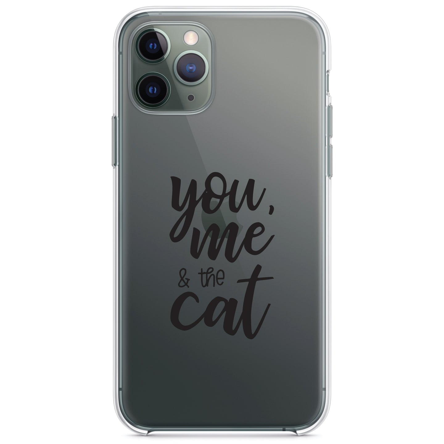 DistinctInk® Clear Shockproof Hybrid Case for Apple iPhone / Samsung Galaxy / Google Pixel - You, Me & the Cat