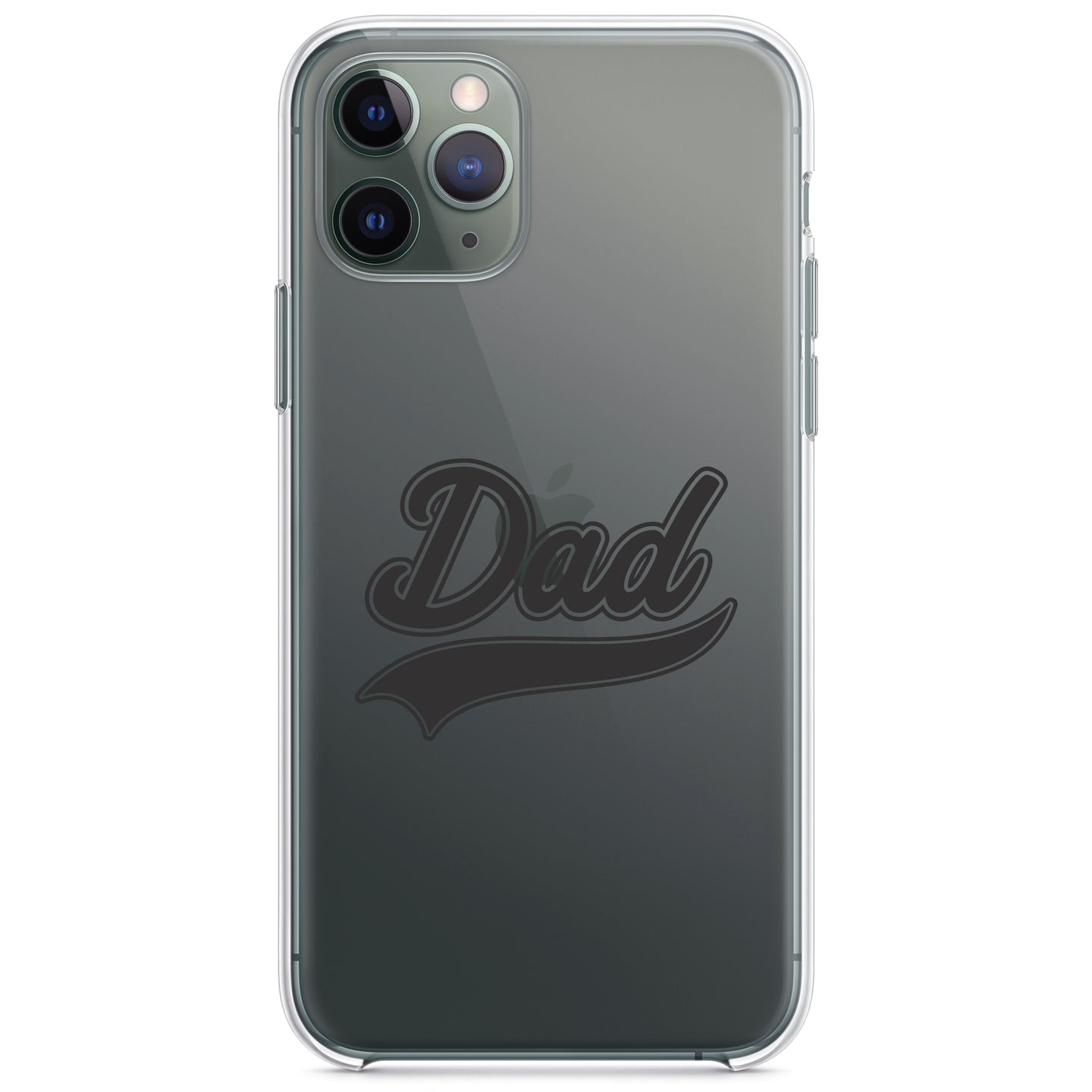 DistinctInk® Clear Shockproof Hybrid Case for Apple iPhone / Samsung Galaxy / Google Pixel - Dad Word Graphic Black