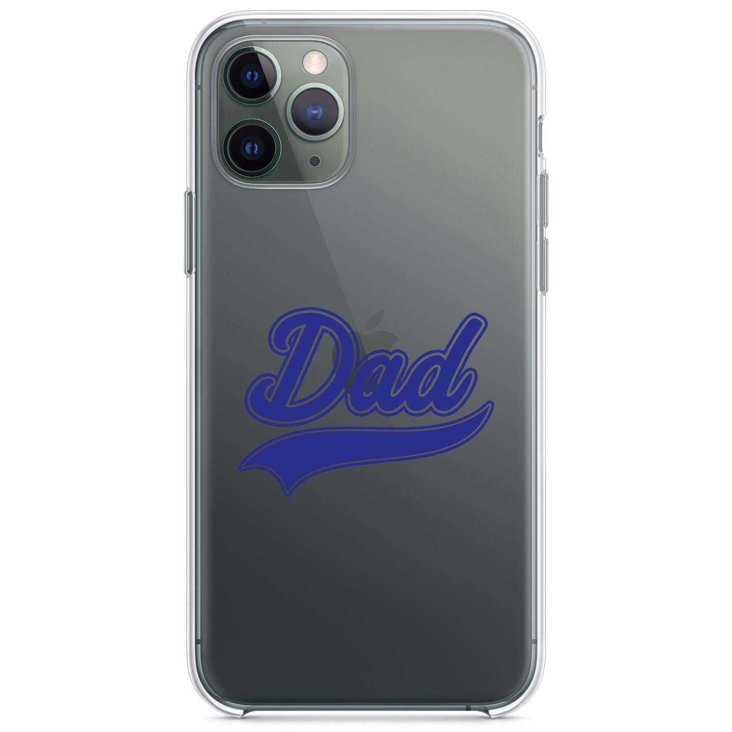 DistinctInk® Clear Shockproof Hybrid Case for Apple iPhone / Samsung Galaxy / Google Pixel - Dad Word Graphic Blue