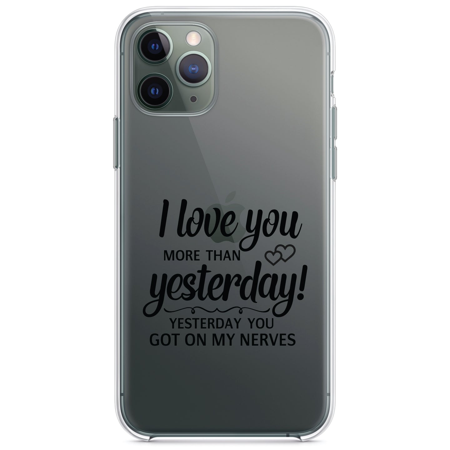 DistinctInk® Clear Shockproof Hybrid Case for Apple iPhone / Samsung Galaxy / Google Pixel - I Love You More Than Yesterday, Got On My Nerves