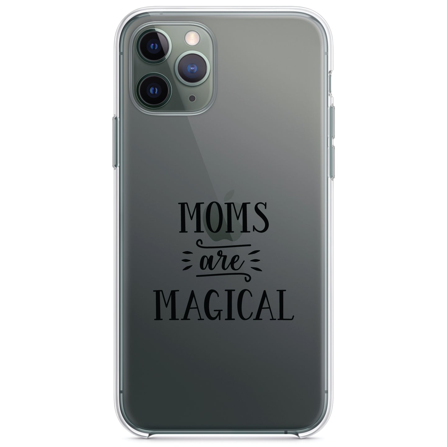 DistinctInk® Clear Shockproof Hybrid Case for Apple iPhone / Samsung Galaxy / Google Pixel - Moms Are Magical