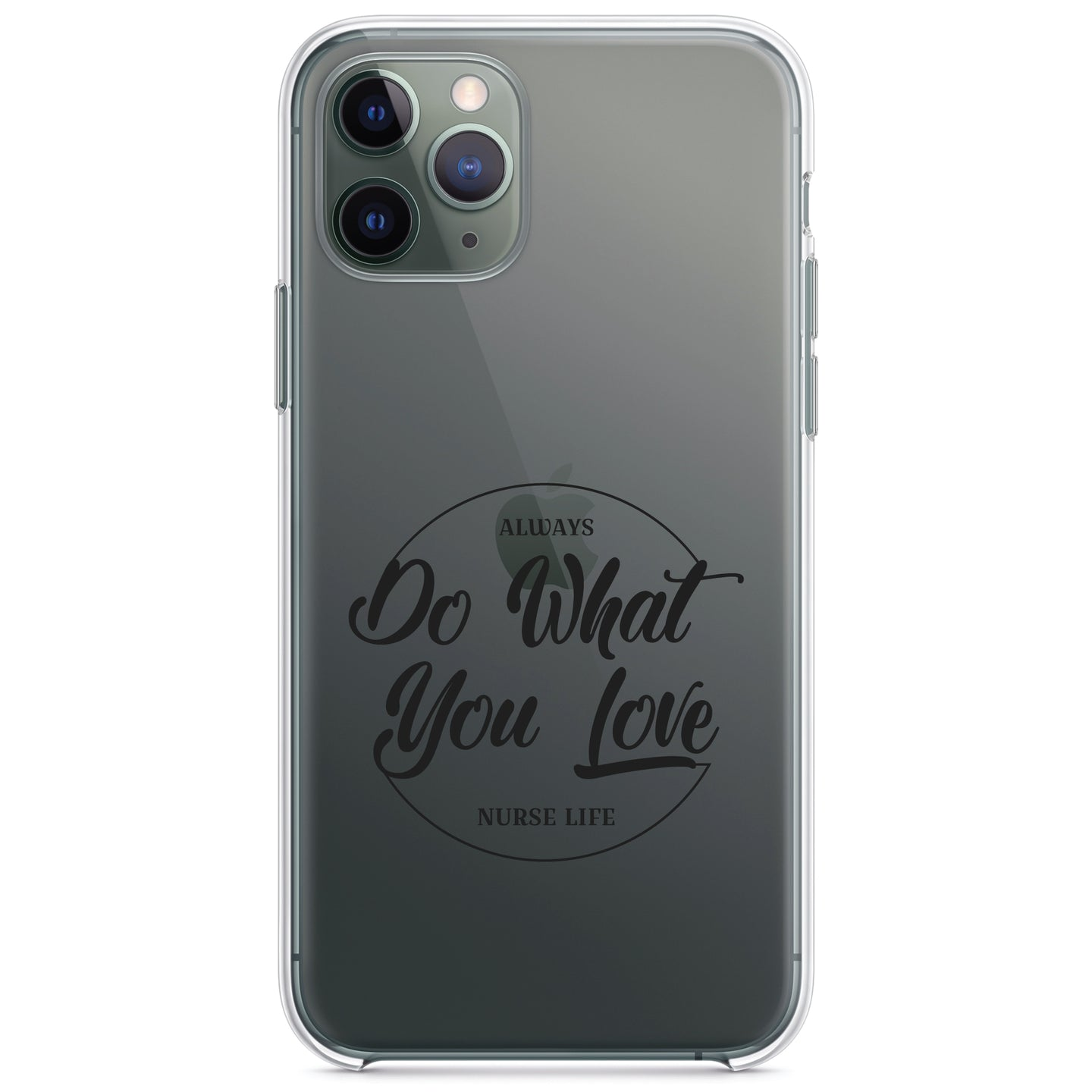 DistinctInk® Clear Shockproof Hybrid Case for Apple iPhone / Samsung Galaxy / Google Pixel - Always Do What You Love - Nurse Life Black