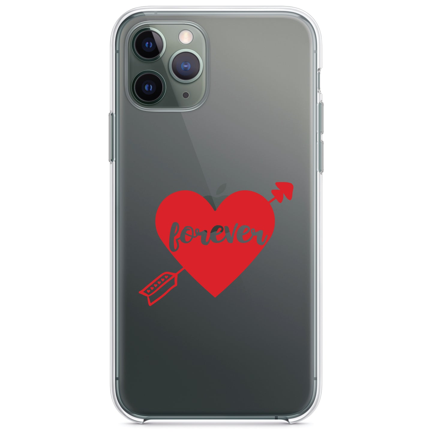 DistinctInk® Clear Shockproof Hybrid Case for Apple iPhone / Samsung Galaxy / Google Pixel - Heart Arrow Forever Valentine