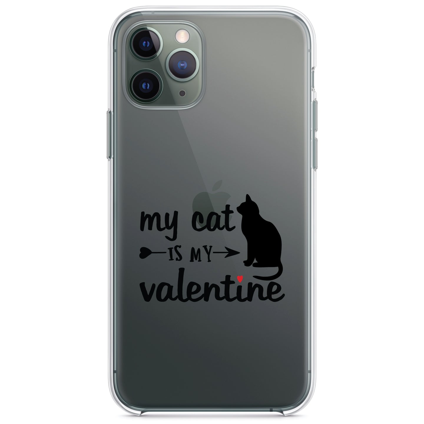 DistinctInk® Clear Shockproof Hybrid Case for Apple iPhone / Samsung Galaxy / Google Pixel - My Cat is My Valentine
