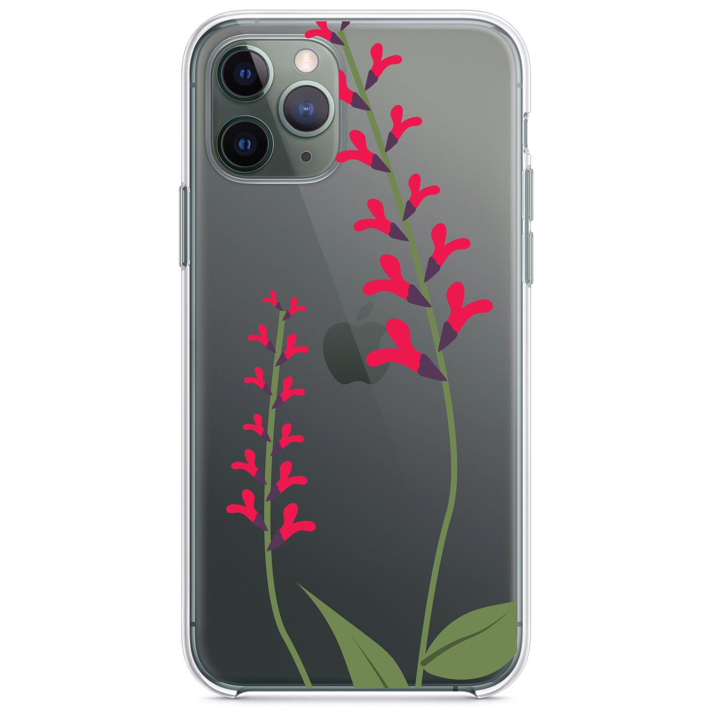 DistinctInk® Clear Shockproof Hybrid Case for Apple iPhone / Samsung Galaxy / Google Pixel - Wildflowers Hot Pink